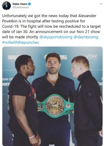 Eddie Hearn announces postponement of Povetkin v Whyte II due to COVID-19