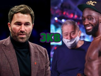 Eddie Hearn (left), Terence Crawford with Bob Arum in background