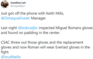 Bobby Benton finds padding stripped from Miguel Roman's gloves