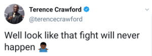 Terence Crawford says Errol Spence fight is unlikely