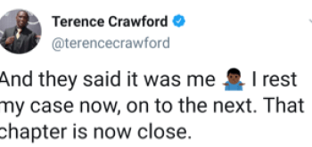 Terence Crawford post on Twitter