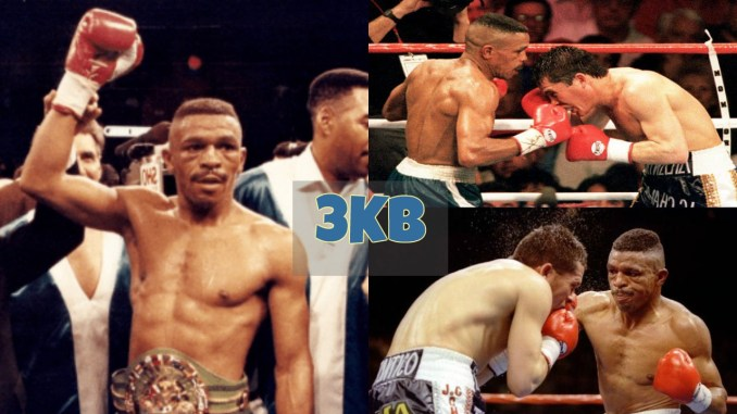 Frankie Randall raises hand in victory and highlights of Randall vs Chavez