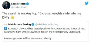 Eddie Hearn searching for replacement opponent for Lawrence Okolie