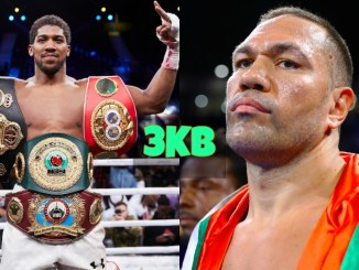 Anthony Joshua with his belts and Kubrat Pulev eyes them