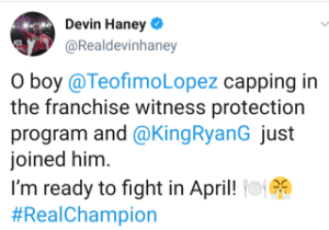 Devin Haney says Teofimo Lopez and Ryan Garcia are ducking him
