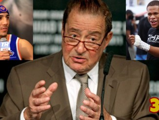 Bob Arum, Teofimo Lopez (top left), Devin Haney (top right)