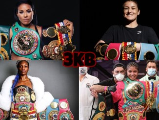 (clockwise from top left) Cecilia Braekhus, Katie Taylor, Claressa Shields, Jessica McCaskill