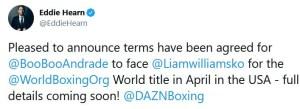 Eddie Hearn announces Demetrius Andrade v Liam Williams for April