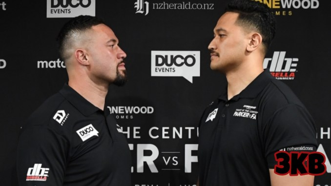 Joseph Parker and Junior Fa face-off at their February 22 press conference