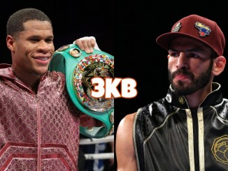 "Devin ""The Dream"" Haney flashes WBC belt; Jorge Linares looks in dismay"