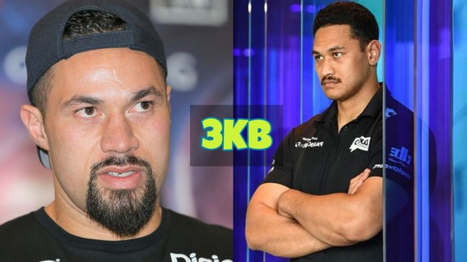 Joseph Parker and Junior Fa look at the media