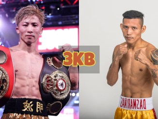 Naoya Inoue with the WBA and IBF belts; Michael Dasmarinas poses for the camera.
