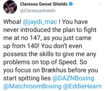 Claressa Shields tweets Jessica MacCaskill has never tried to fight her