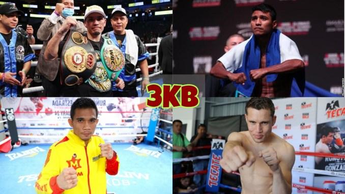 Juan Francisco Estrada holding WBC and WBA belts; Roman Gonzalez flexes his muscles; Srisaket Sor Rungvisai poses for the camera; Carlos Cuadras smiles for the camera