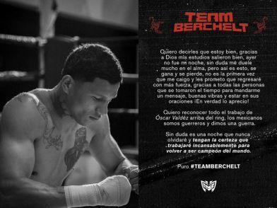 Miguel Berchelt talks about losing to Oscar Valdez on Instagram