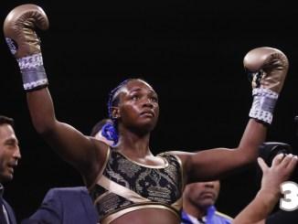 Claressa Shields celebrates victory