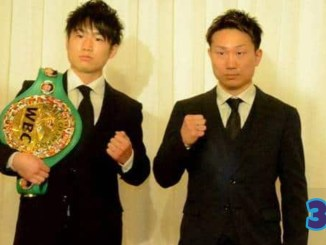 Kenshiro Teraji and Tetsuya Hisada pose for their upcoming April 24 bout