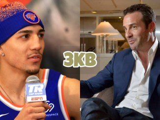 Teofimo Lopez addresses the media; Todd duBoef talks to an interviewer