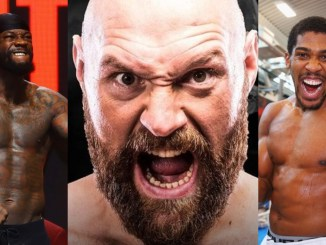Deontay Wilder flexes his muscles; Tyson Fury screams into the camera; Anthony Joshua screams into the camera