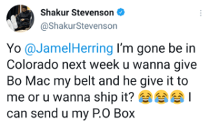 Shakur Stevenson jokes with Jamel Herring about accepting his belt.