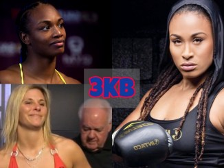 Claressa Shields smirks at the media; Marie Eve Dicaire poses on the scales; Hanna Gabriels poses for the camera