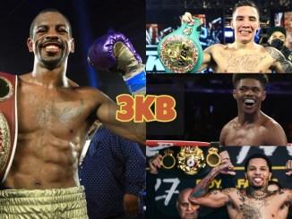 Jamel Herring with the WBO title; Oscar Valdez with the WBC title; Shakur Stevenson smiles; Gervonta Davis with the WBA title.