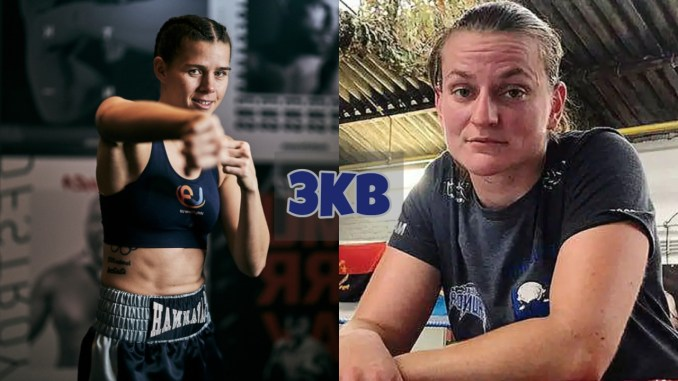Savannah Marshall throws a straight right hand punch; Femke Hermans poses for the camera