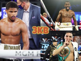 Shakur Stevens stares down his opponent; Jamel Herring sticks his tongue out; Oscar Valdez motions for fans to be quiet.