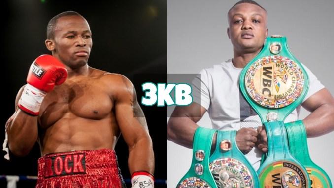 Thabiso Mchunu stares at Ilunga Makabu holding WBC titles.