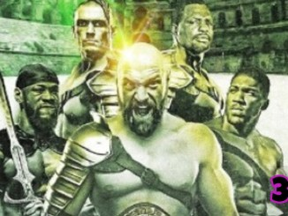 Art depicting Tyson Fury as king of the heavyweight division featuring Deontay Wilder, Anthony Joshua, Dillian Whyte and Oleksandr Usyk