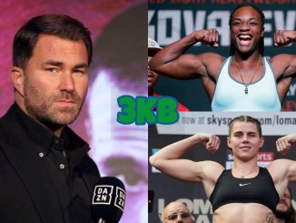 Eddie Hearn (left), Claressa Shields (top right), Savannah Marshall