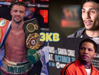 Josh Taylor holding WBA and IBF titles; Gervonta Davis looks at his opponent; Teofimo Lopez looks shocked.