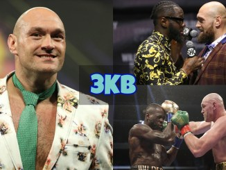 Tyson Fury smiles for the cameras; Deontay Wilder and Tyson Fury face-off; Tyson Fury lands a right hand on Deontay Wilder.
