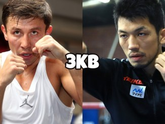 IBF Middlweight champion Gennady Golovkin in a fighting stance, WBA Middlweight champion Ryota Murata throws a punch