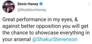 Devin Haney praises the performance of Shakur Stevenson