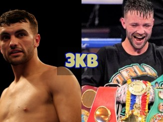 Jack Catterall looks toward Josh Taylor; Josh Taylor celebrates with all the belts.