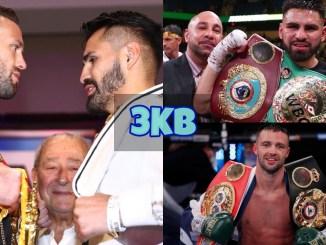 Josh Taylor and Jose Ramirez face-off; Jose Ramirez with the WBO and WBC belts; Josh Taylor with the WBA and IBF belts.