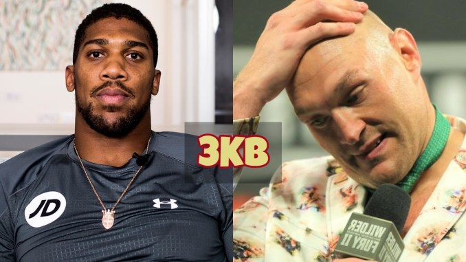 Anthony Joshua poses for the camera; Tyson Fury grabs his head in confusion.