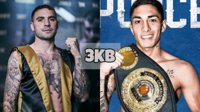 Lewis Ritson poses for teh camera; Jeremias Ponce shows off the IBO belt.