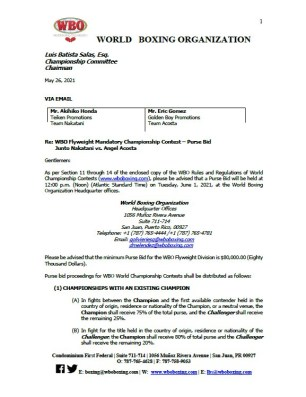 WBO purse bid order for Junto Nakatani vs Angel Acosta.