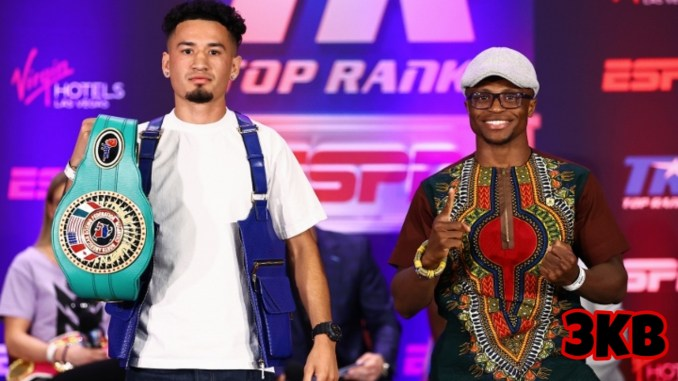 Adam Lopez and Isaac Dogboe at the final presser ahead of their featherweight bout