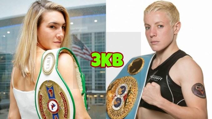 WBO World Super Featherweight champion Mikaela Mayer, IBF World Super Featherweight champion Maiva Hamadouche