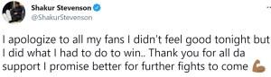 Shakur Stevenson apologizes for his performance against Jeremiah Nakathila
