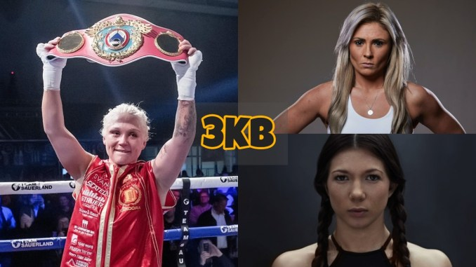 Dina Thorslund holds up the WBO title; Shannon Courtenay looks at the camera; Sarah mahfoud looks at the camera.