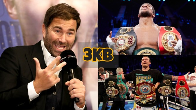Eddie Hearn addresses the media; Anthony Joshua looks up towards the sky; Oleksandr Usyk shows off all four belts.