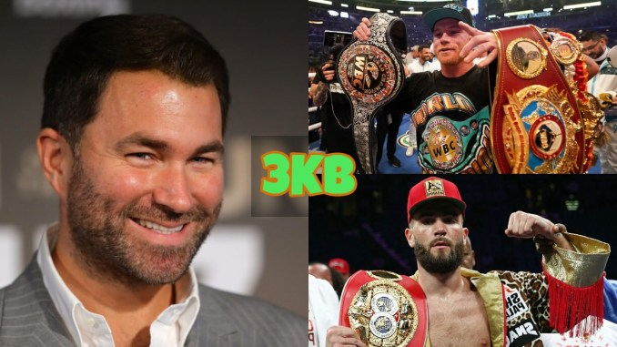 Eddie Hearn smiles for the camera; Canelo Alvarez with three belts; Caleb Plant with the IBF belt.
