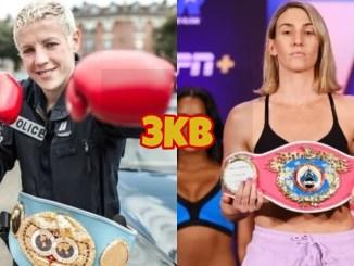 IBF womens World super featherweight champion Maïva Hamadouche, WBO womens World super featherweight champion Mikaela Mayer