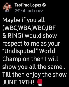 Teofimo Lopez gripes about not being recognized as the undisputed champion by the sanctioning bodies