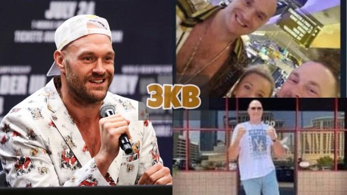 Tyson Fury addresses the media; Fury with a couple in Las Vegas; Fury outside a Las Vegas car dealership.