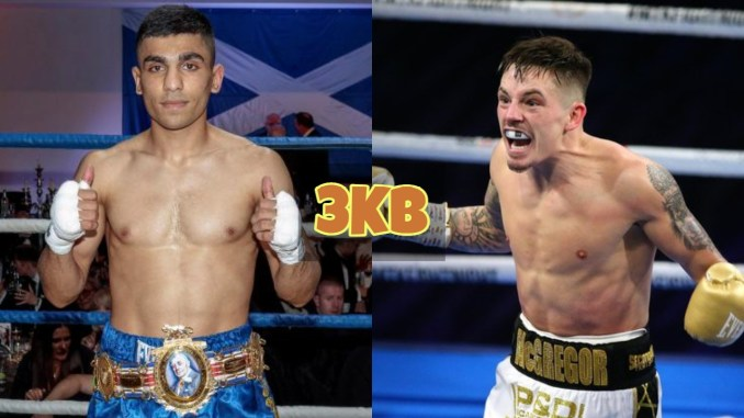 Ukashir Farooq with the BBBofC title around his wasit; Lee McGregor screams at the audience after victory.